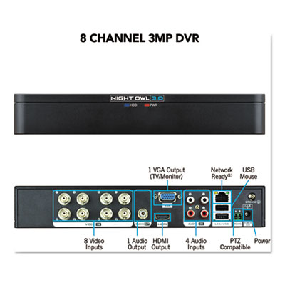 Night Owl DVRX38 8 Channel Extreme HD 3MP DVR