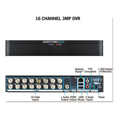 Night Owl DVRX316 16 Channel Extreme HD 3MP DVR