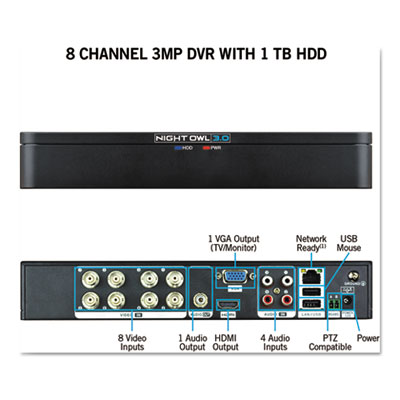 Night Owl DVRX381 8 Channel Extreme HD 3MP DVR with 1 TB Hard Drive