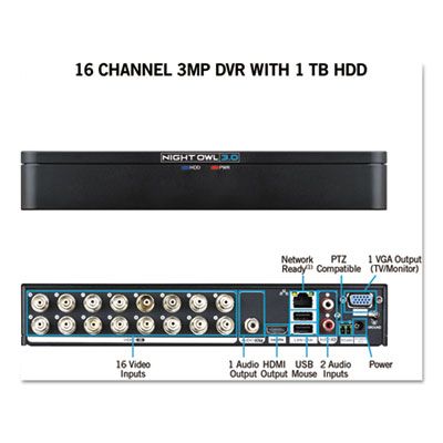 Night Owl DVRX3161 16 Channel Extreme HD 3MP DVR with 1 TB Hard Drive