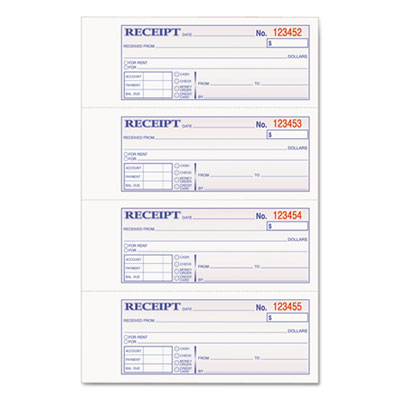 Adams Manufacturing DCH1185 Adams TOPS 2-Part Hardbound Receipt Book