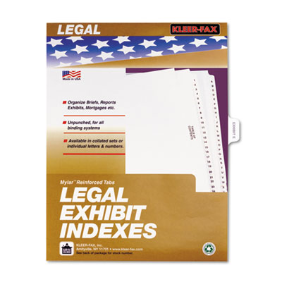 Kleer-Fax 81005 80000 Series Exhibit Alpha Side Tab Legal Index Divider