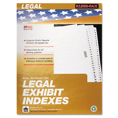 Kleer-Fax 81006 80000 Series Exhibit Alpha Side Tab Legal Index Divider