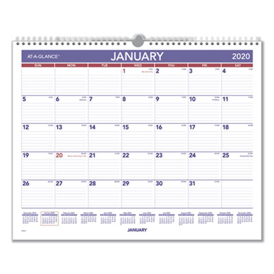 Month At A Glance Calendar 2020 AT A GLANCE Monthly Wall Calendar, 15 x 12, Red/Blue, 2020 (PM828