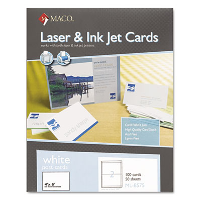 MACO ML8575 Unruled Microperforated Laser/Ink Jet Index Cards