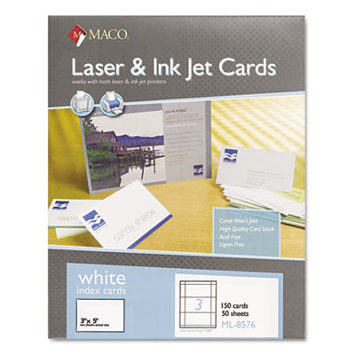 MACO ML8576 Unruled Microperforated Laser/Ink Jet Index Cards