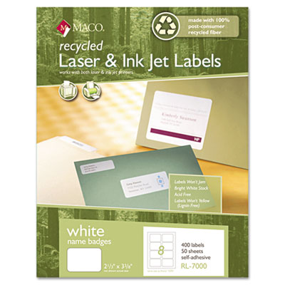 Chartpak/Pickett RL7000 Maco Recycled Name Badge Labels