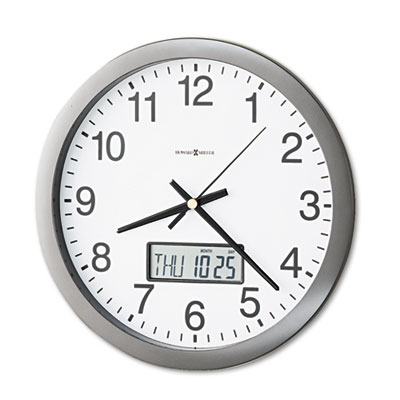 Howard Miller 625195 Chronicle Wall Clock with LCD Inset