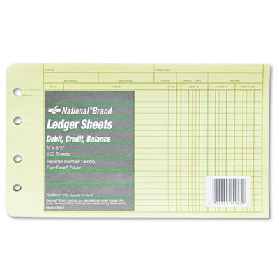 Rediform 14055 National Four-Ring Binder Refill Sheets