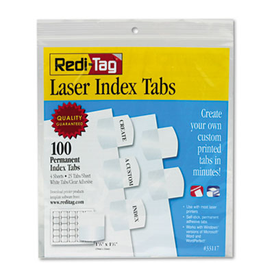 Redi-Tag 33117 Laser and Inkjet Printable Index Tabs