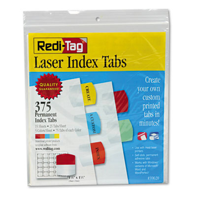Redi-Tag 39020 Laser and Inkjet Printable Index Tabs