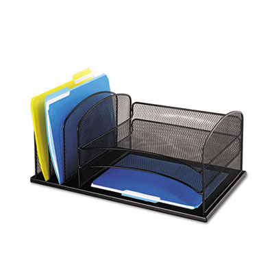 Safco 3254BL Onyx Desk Organizer with Three Horizontal and Three Upright Sections