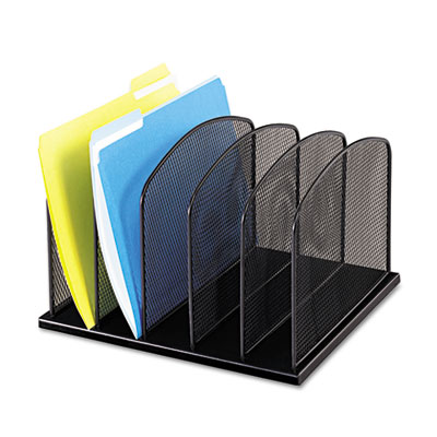 Safco 3256BL Onyx Mesh Desk Organizer with Upright Sections