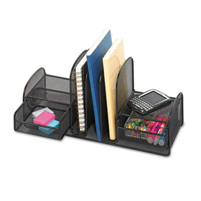Safco 3263BL Onyx Mesh Desk Organizer with Three Vertical Sections/Two Baskets