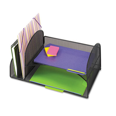 Safco 3264BL Onyx Mesh Desk Organizer with Two Vertical/Two Horizontal Sections