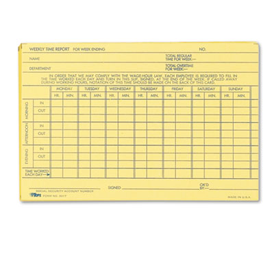 Tops Business Forms 3017 TOPS Weekly Employee Time Report Card
