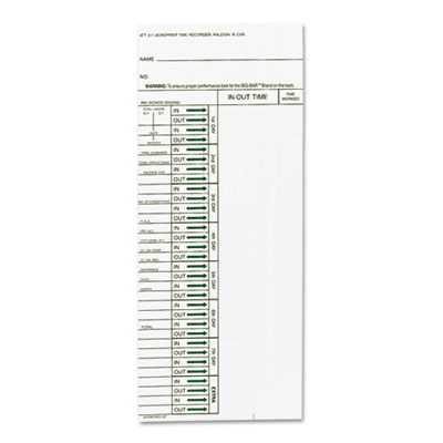 Acroprint 096103080 Cards for Model ATT310 Electronic Totalizing Time Recorder