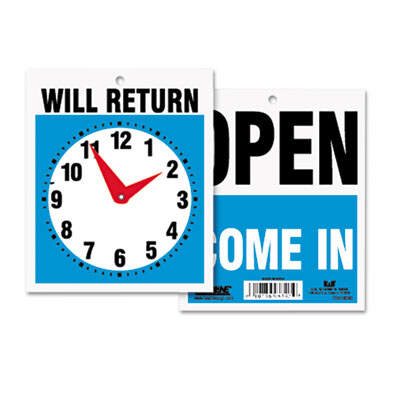 U. S. Stamp &  Sign 9382 Headline Sign Double-Sided Open/Will Return Sign with Clock Hands