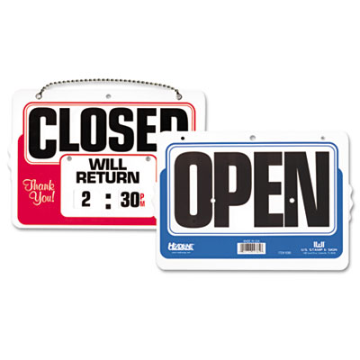 U. S. Stamp & Sign 9385 Headline Sign Double-Sided Open/Closed Sign with Dial-A-Time Will Return Clock